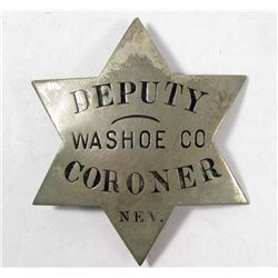 OLD WEST WASHOE COUNTY NEVADA DEPUTY CORONER POLICE LAW BADGE