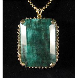 69208 - 14K GOLD EMERALD AND DIAMOND PENDANT W/ CHAIN
