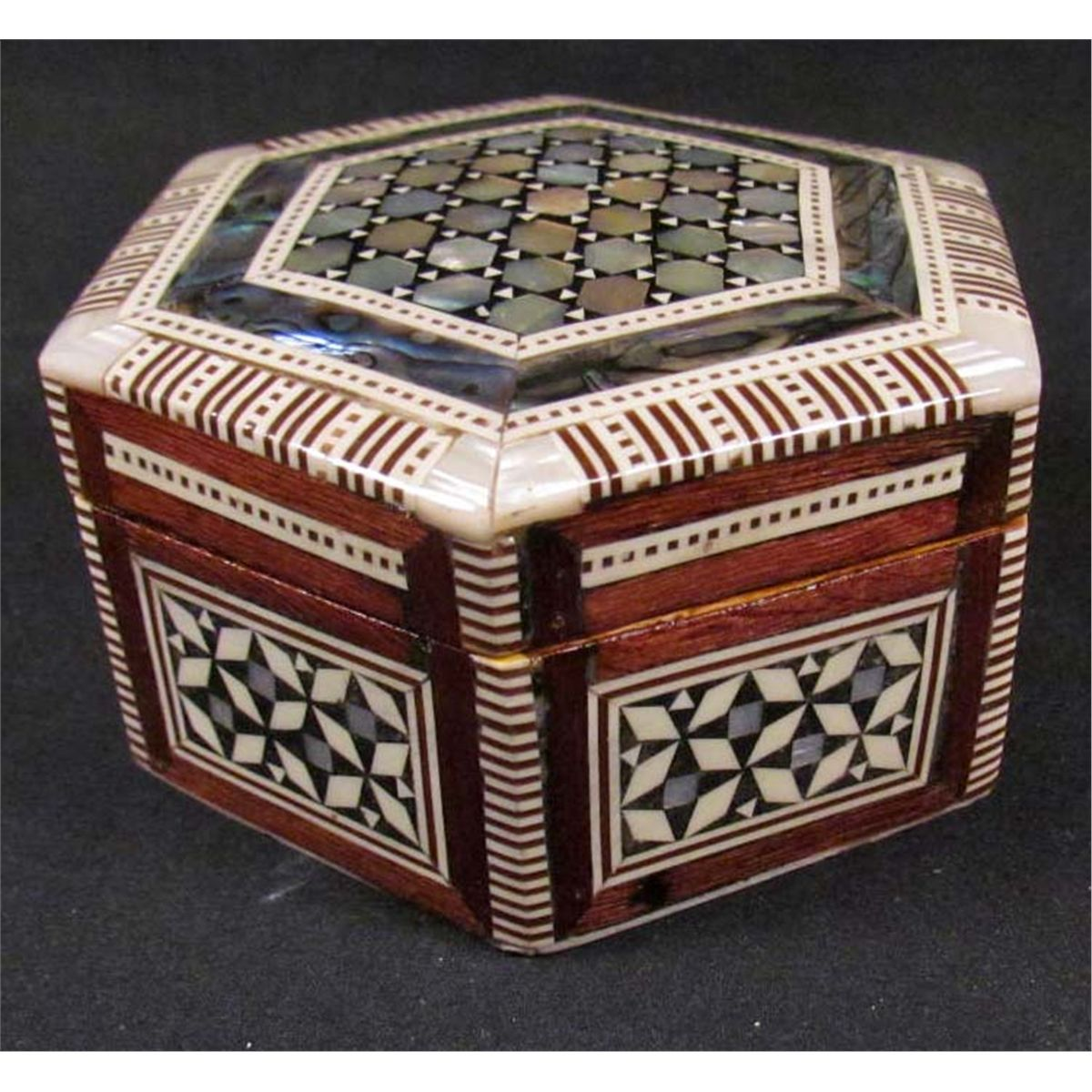 EGYPTIAN HEXAGON JEWELRY BOX INLAID W MOTHER OF PEARL