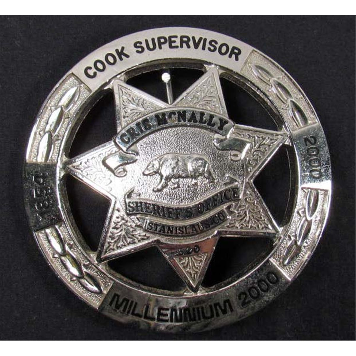 stainislaus county ca cook supervisor millennium 2000 police law badge