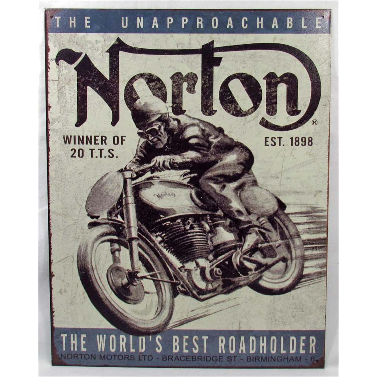 "2699 - 16""x12"" - NORTON, THE WORLD'S BEST ROADHOLDER - METAL ADVERTISING  SIGN"