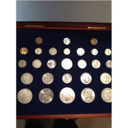 20TH CENTURY COIN SET, 27 COINS MOST SILVER