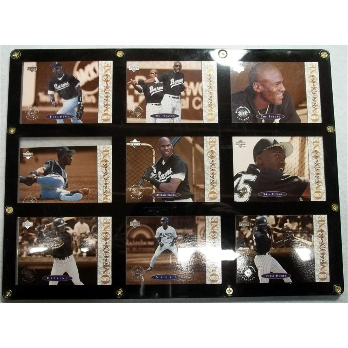 9 Michael Jordan Baseball Cards In Acrylic Display