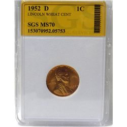 1952-D Lincoln Wheat Cent  SGS MS70 w/ C.O.A