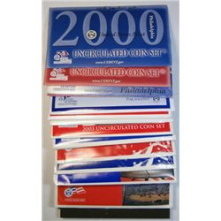 MINT SETS OF THE 2000'S 2000-07 8 SETS IN ORIGINAL PACKAGING