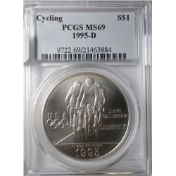 1995-D Cycling Commemorative silver dollar PCGS MS69