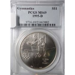 1995-D Gymnastics Commemorative silver dollar PCGS MS69