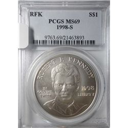 1998-S Robert F. Kennedy Commemorative Silver Dollar PCGS ms69