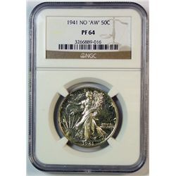 "1941 WALKING LIBERTY HALF DOLLAR NGC PROOF 64 ""NO AW"""