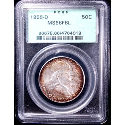 1958-D FRANKLIN HALF DOLLAR, PCGS MS 66 FBL GREEN LABEL!