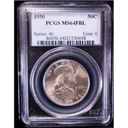 1950 FRANKLIN HALF DOLLAR, PCGS MS 64 FBL