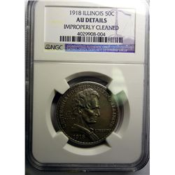 1918 ILLINOIS HALF DOLLAR NGC AU CLEANED