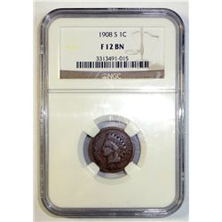 1908-S INDIAN ONE CENT NGC FINE 12