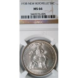 1938 NEW ROCHELLE HALF DOLLAR NGC MS66 SUPERB!