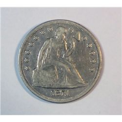 1871 SEATED DOLLAR XF