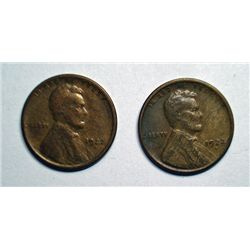 2- 1922 D LINCOLN ONE CENT GOOD, AND VERY GOOD