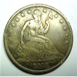 1871-S SEATED HALF DOLLAR XF-AU ORIGINAL