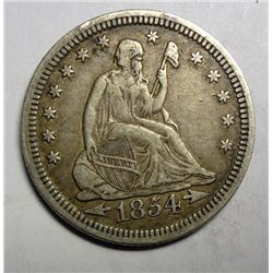1854 ARROWS SEATED QUARTER XF