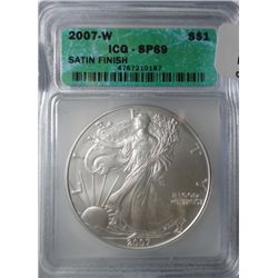 2007W satin proof silver Eagle  ICG SP69