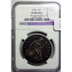 1842 Seated $  NGC XF details scratch reverse