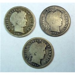 3  1895S Barber dimes  full rim good