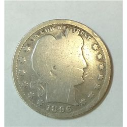 1896S  Barber quarter full rim obv  typical weak rev