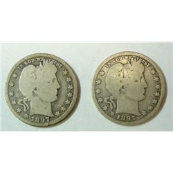 2  1897O  Barber quarter full rim Good+