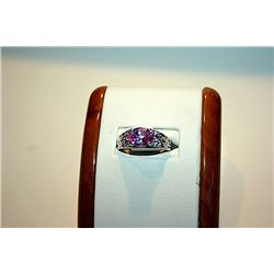 Lady's Fancy 14kt White Gold Oval Shape Pink Sapphire &amp; Diamond Ring