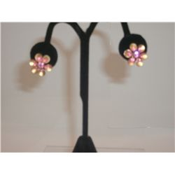 Pretty Floral Style Vintage Earrings.  Goldtone With Pink Rhinestones/Crystals Post 3/4""