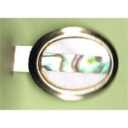 Vintage Tie Clip       Inlaid Mother of Pearl and Abalone     1""