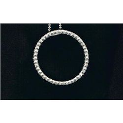 "Beautiful Silver/silvertone Necklace w Crystal Circle Pendant marked N R  18"" Chain 1 1/2"" Pendant"