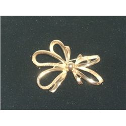 Vintage/Antique Goldtone Bow Pin 2 1/2""