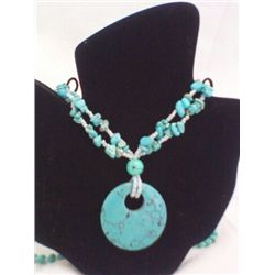 "Faux Turquoise 34"" Necklace with 2"" Disc Pendant"