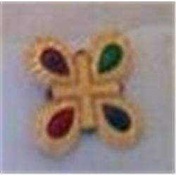 Colorful Broach/Pin Signed Liz Claiborne Inc 1 3/4""