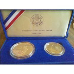 1986 Statue of Liberty Proof Silver Dollar & Half-dollar Commemorative Set