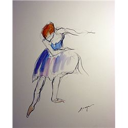 After Degas Original Watercolor on Paper DANCER