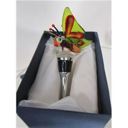 Murano Glass - wine stopper with butterfly top