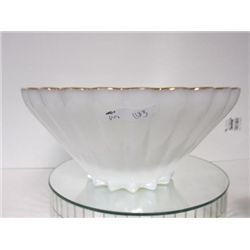 Large white with gold trim fruit or punch bowl