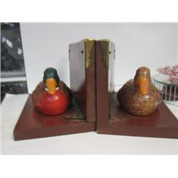 Pair wood book ends - Mallard ducks