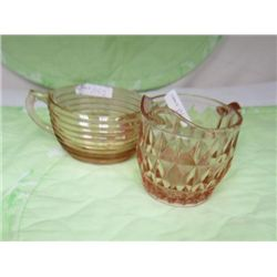 2 depression glass pink creamer   and sugar