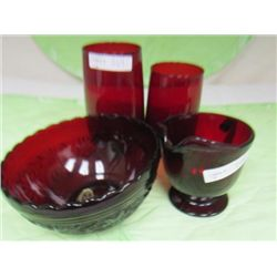 4 pc ruby red tumblers