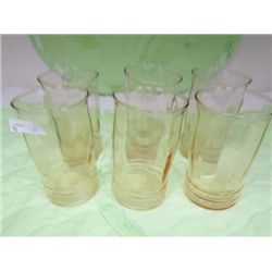 Set 6 pink vertical top ribbed bottom tumblers