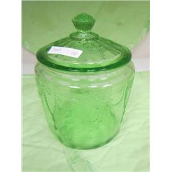 Green Cameo cookie jar with lid
