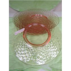 5 pink plates - depression glass