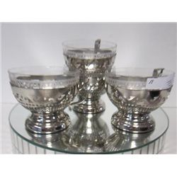 4 sets crystal cups with silver plate holders