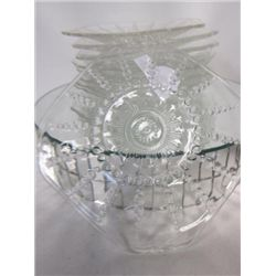 9 pc crystal square cake dishes and saucers