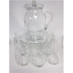 7 pc set crystal pitcher and glasses