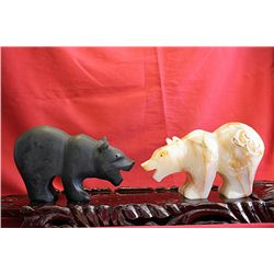 Original Hand Carved Marble  Bears  by G. Huerta