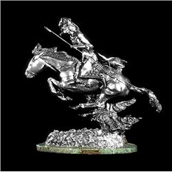 Original Fine Silver Sculpture - Cheyenne by F. Remington