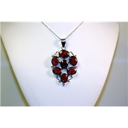 Lady's Beautiful Sterling Bermuda Pigeon Blood Ruby Necklace